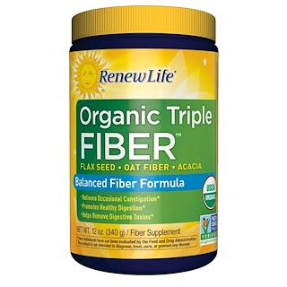 Renew Life, Organic Triple Fiber, Balanced Fiber Formula, 12 oz (340 g)