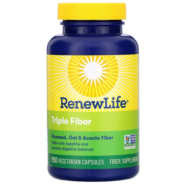 Renew Life, Triple Fiber, 150 Vegetarian Capsules
