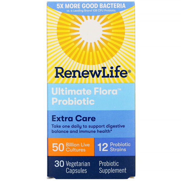 Ultimate Flora Probiotic, Extra Care, 50 Billion Live Cultures, 30 Vegetarian Capsules