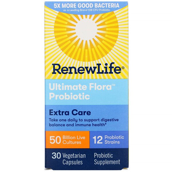 Renew Life, Ultimate Flora Probiotic, Extra Care, 50 Billion Live Cultures, 30 Vegetarian Capsules