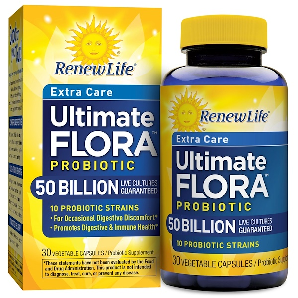 Renew Life, Ultimate Flora, Extra Care Probiotic, 50 Billion Live Cultures , 30 Vegetable Capsules