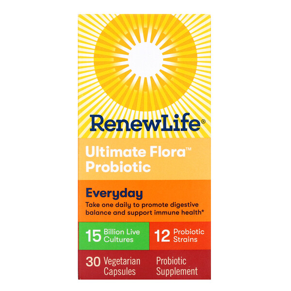 Renew Life, Everyday, Ultimate Flora Probiotic, 15 Billion Live Cultures, 30 Vegetable Capsules  (Discontinued Item)