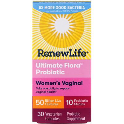 Women's Vaginal, Ultimate Flora Probiotic, 50 миллиардов живых бактерий, 30 вегетарианских капсул vaginal lactobacilli and strains with probiotic potentials