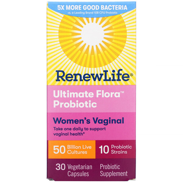 Renew Life, Ultimate Flora Probiotic, Women's Vaginal, 50 Billion Live Cultures, 30 Vegetarian Capsules