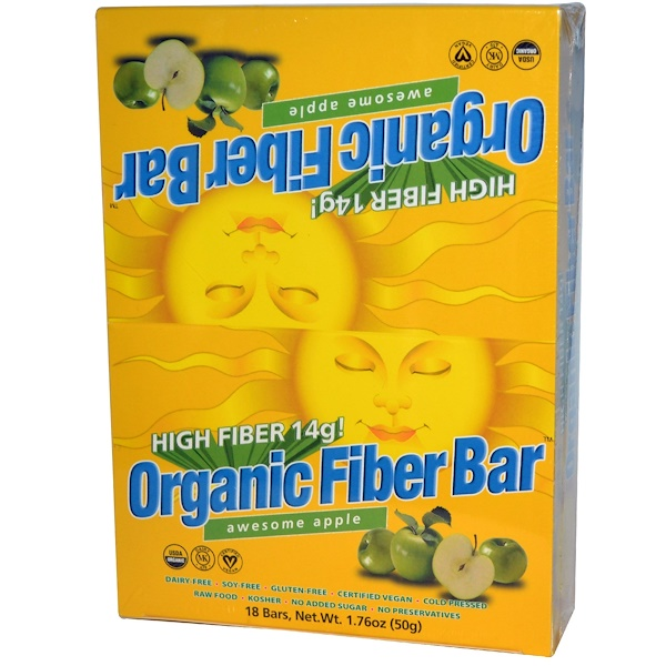 Renew Life, Organic Fiber Bar, Awesome Apple, 18 Bars, 1.76 oz (50 g) Each (Discontinued Item)