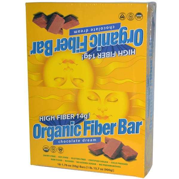 Renew Life, Organic Fiber Bar, Chocolate Dream, 18 Bars, 1.76 oz (50 g) Each (Discontinued Item)