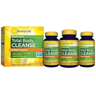 Renew Life, Gentle Care, Total Body Cleanse, 14-Day Program, 3-Part Program, Vegetable Capsules