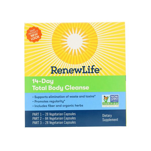 Renew Life, 14-дневное полное очищение организма, программа из 3 частей, вегетарианские капсулы