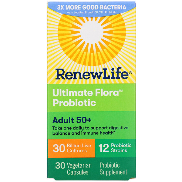 Adult 50+ Ultimate Flora Probiotic, 30 Billion Live Cultures, 30 Vegetarian Capsules