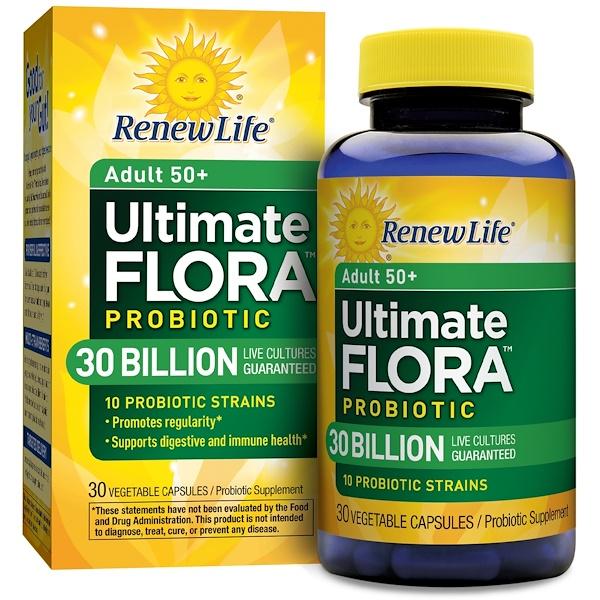 Renew Life, Для взрослых в возрасте 50 лет и старше, Ultimate Flora Probiotic, 30 миллиардов живых культур, 30 капсул в оболочке растительного происхождения