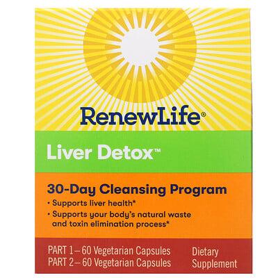 Купить Renew Life Targeted, Liver Detox, программа очищения органов, 120 растительных капсул, 2 флакона, 30-дневная программа