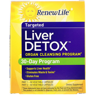 Renew Life, Targeted، إزالة سموم الكبد، برنامج تطهير الأعضاء، 120 كبسولة نباتية، زجاجتان، برنامج لمدة 30 يومًا