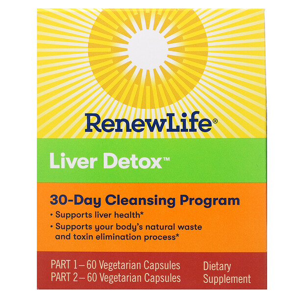 Liver Detox, 30-Day Cleansing Program, 2 Bottles, 60 Vegetarian Capsules Each