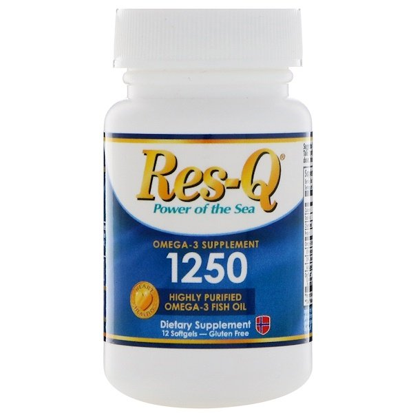 :Res-Q, 1250, Omega-3 Fish Oil, 12 Softgels