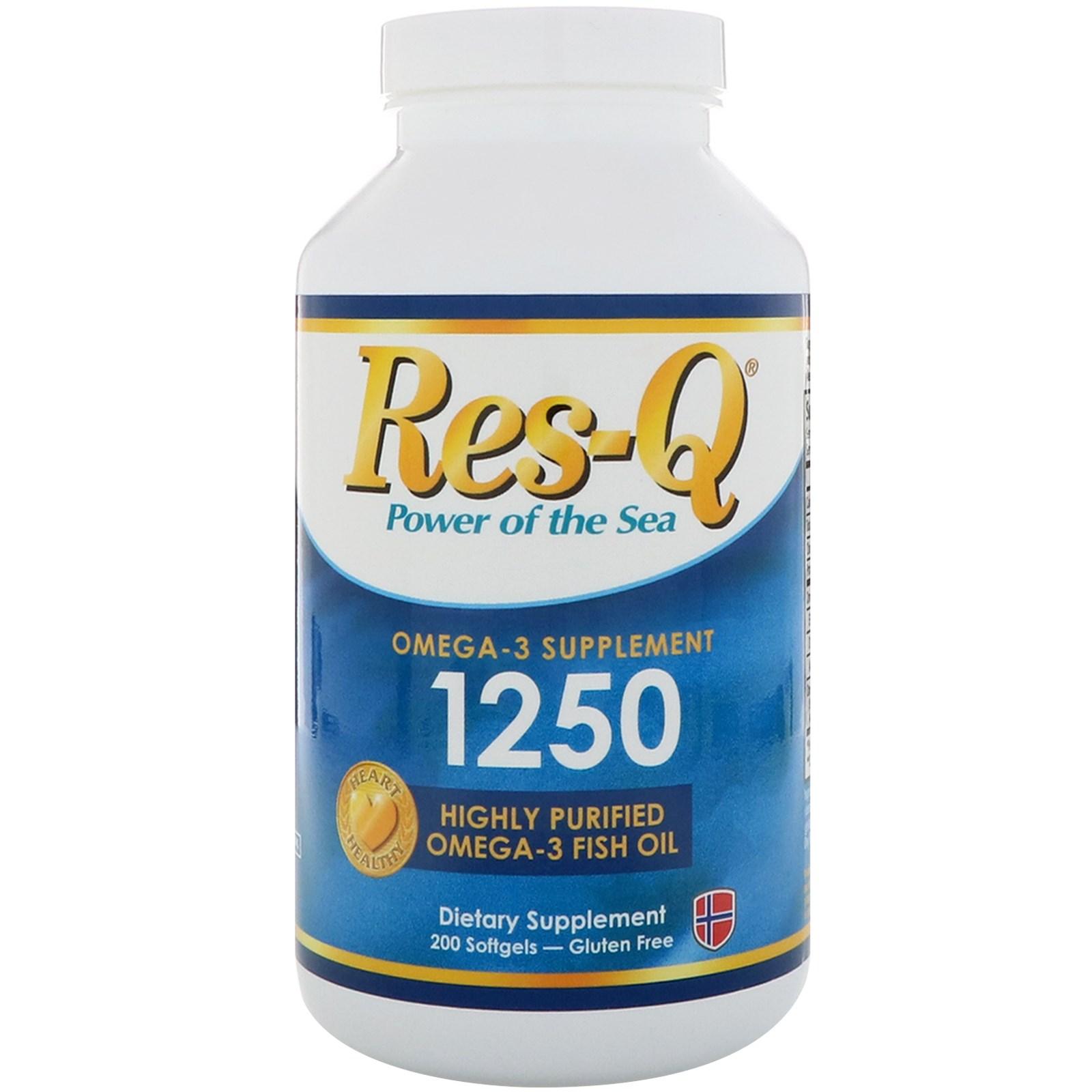 Res-Q, 1250 Omega-3 Fish Oil, 200 Softgels