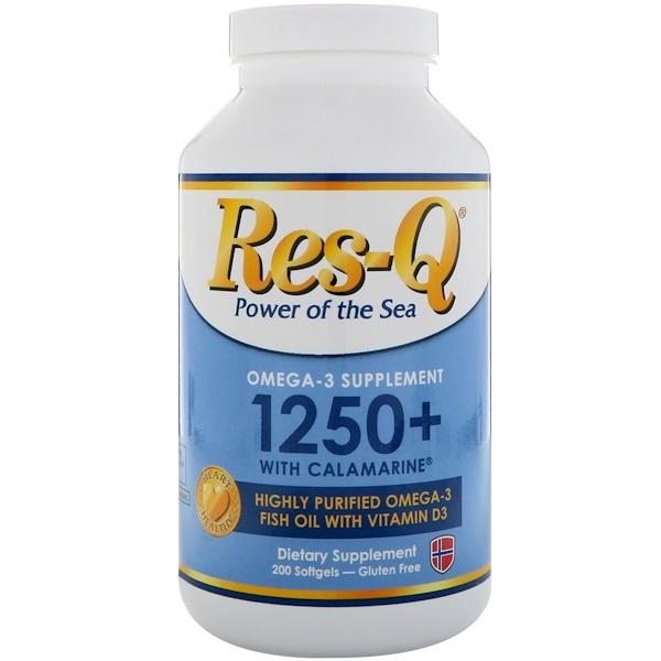 Res-Q, 1250+ 含 Calamarine、歐米伽-3 和維生素 D3, 200 粒軟膠囊