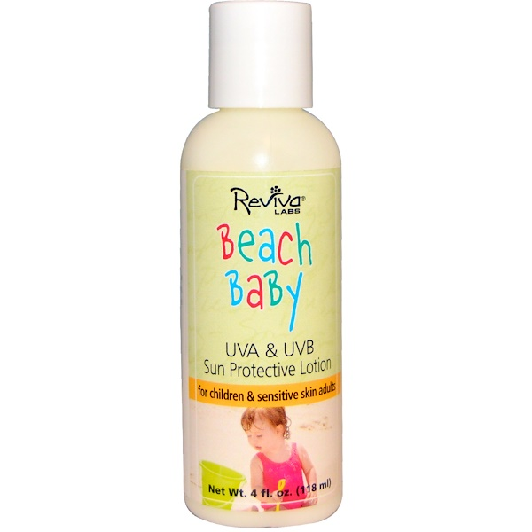 Reviva Labs, Beach Baby, UVA & UVB Sun Protective Lotion, 4 fl oz (118 ml) (Discontinued Item)