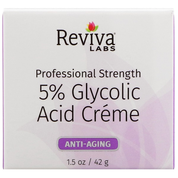 Reviva Labs, 5% Glycolic Acid Cream, Anti Aging, 1.5 oz (42 g) (Discontinued Item)