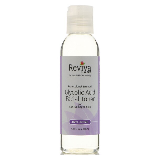 Reviva Labs, Tonificante facial de ácido glicólico, 4 fl oz (118 ml)
