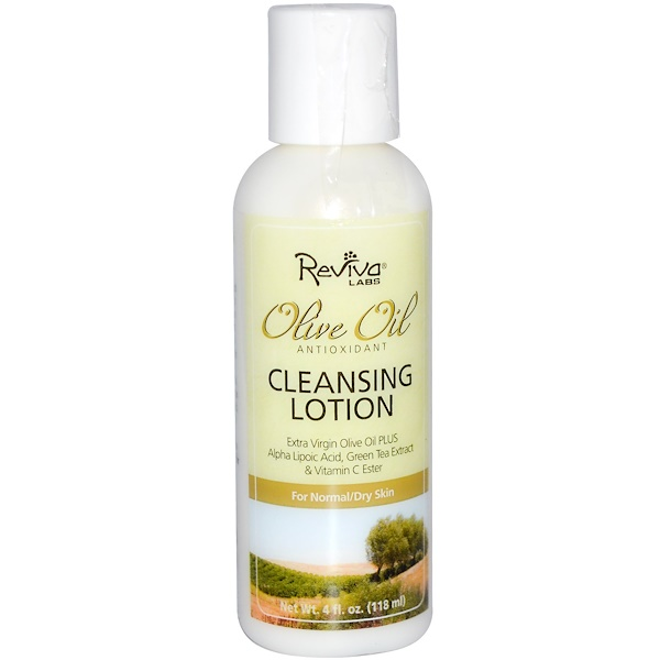 Reviva Labs, Olive Oil, Antioxidant Cleansing Lotion, 4 fl oz (118 ml) (Discontinued Item)