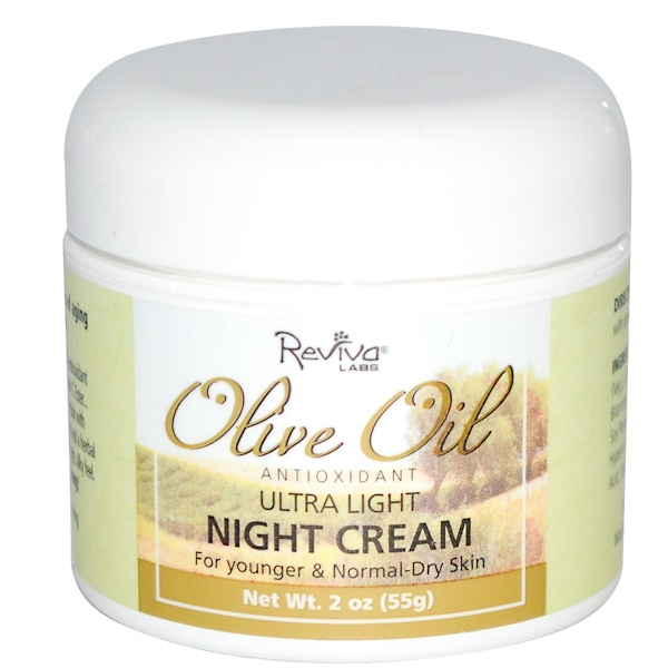 Reviva Labs, Olive Oil Antioxidant, Ultra Light Night Cream, 2 oz (55 g) (Discontinued Item)