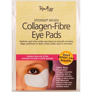 Reviva Labs, Collagen-Fibre Eye Pads, 3 Sets of Two Contoured Pads