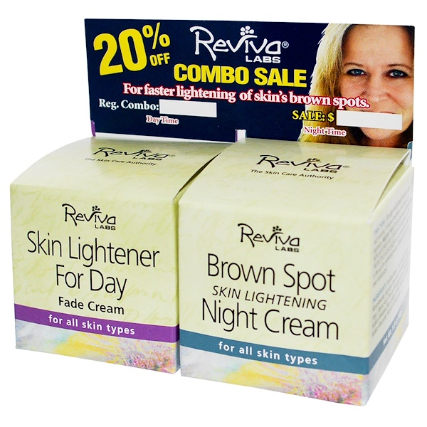 Reviva Labs, Skin Lightener for Day, Brown Spot Skin Lightening Night Cream, 1.5 oz (42 g) Each (Discontinued Item)