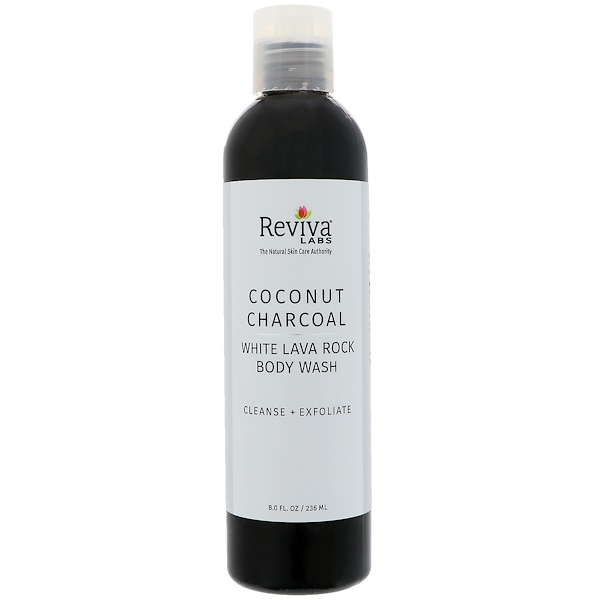 Reviva Labs, Coconut Charcoal White Lava Rock Body Wash, 8 fl oz (236 ml)
