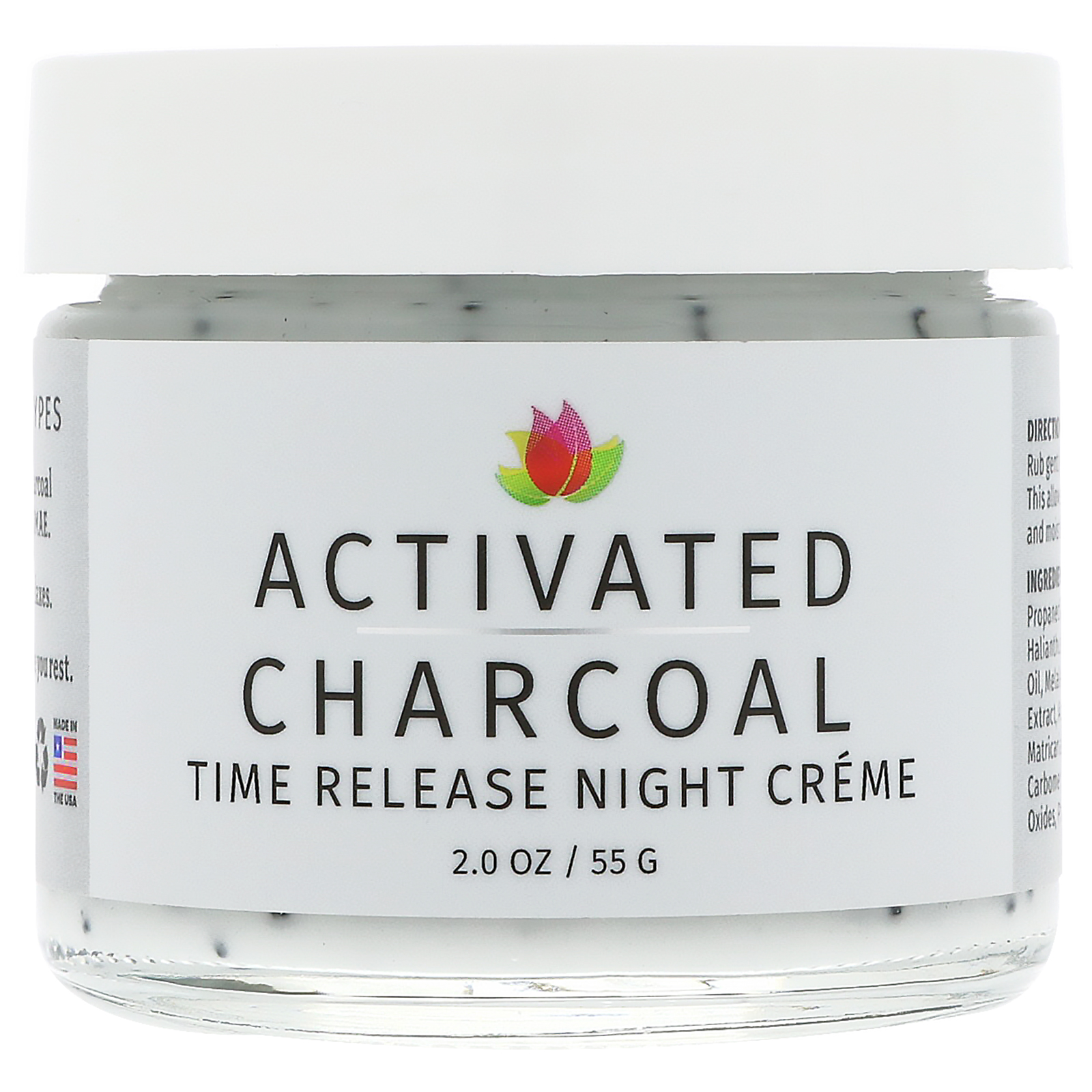 Reviva Labs, Activated Charcoal, Time Release Night Creme, 2