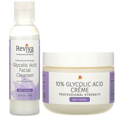 Reviva Labs Glycolic Duo, крем с 10% гликолевой кислотой и очищающее средство для лица с гликолевой кислотой, 2 шт.