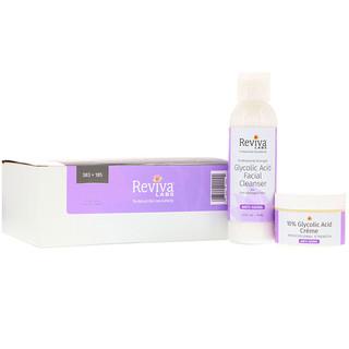 Reviva Labs, كريم بحمض الغليكوليك 10% ومنظف الوجه بحمض الغليكوليك، مجموعة من قطعتين
