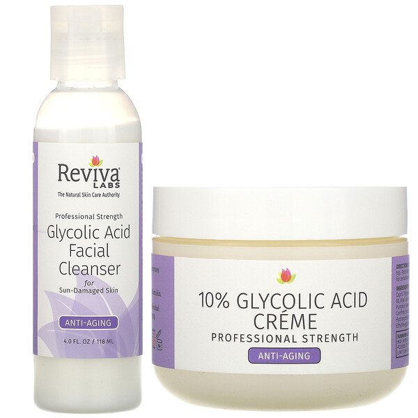 Reviva Labs, Glycolic Duo, 10% Glycolic Acid Creme & Glycolic Acid Facial Cleanser, 2 Piece Bundle