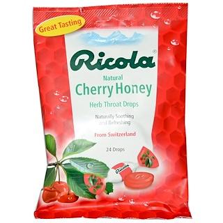 Ricola, Natural Cherry Honey، قطرات عشبية للحلق، 24 قطرة