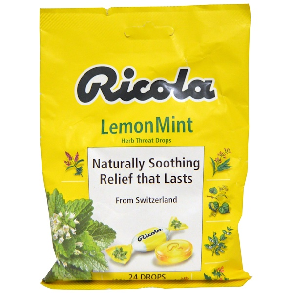 Ricola, Herb Throat Drops, Lemon Mint, 24 Drops