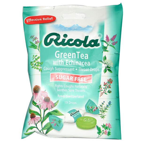 Ricola, Green Tea with Echinacea, Sugar Free, 19 Drops