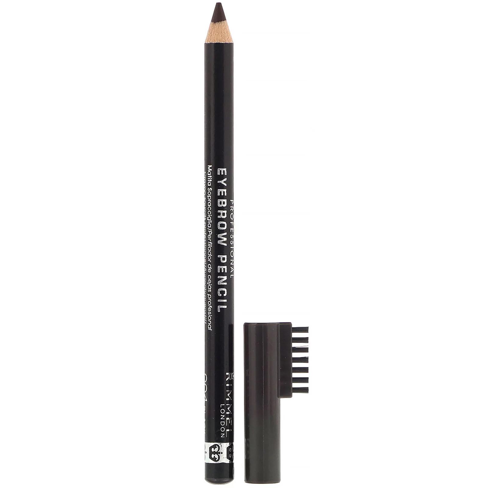 Rimmel London, Профессиональный карандаш для бровей, 004 черно-коричневый, 1,4 г
