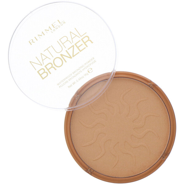 Rimmel London, Natural Bronzer, Poudre bronzante résistante à l'eau, 021 Sun Light, 14 g