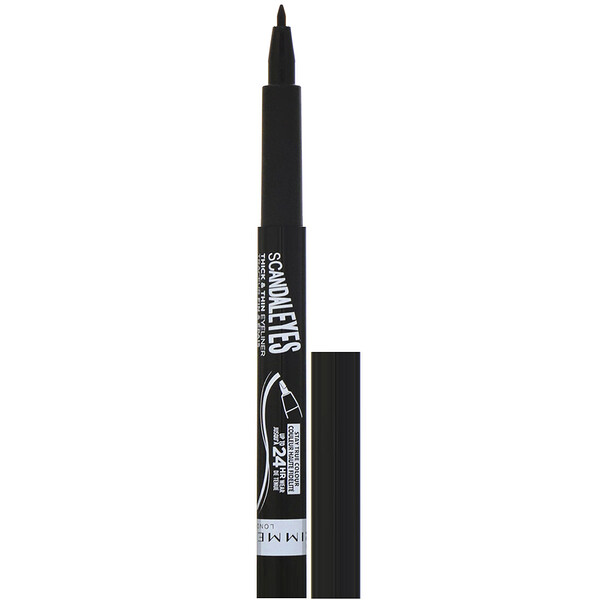 Rimmel London, Scandaleyes Thick & Thin Eyeliner, Black 001 , .0367 fl oz (1.1 ml)