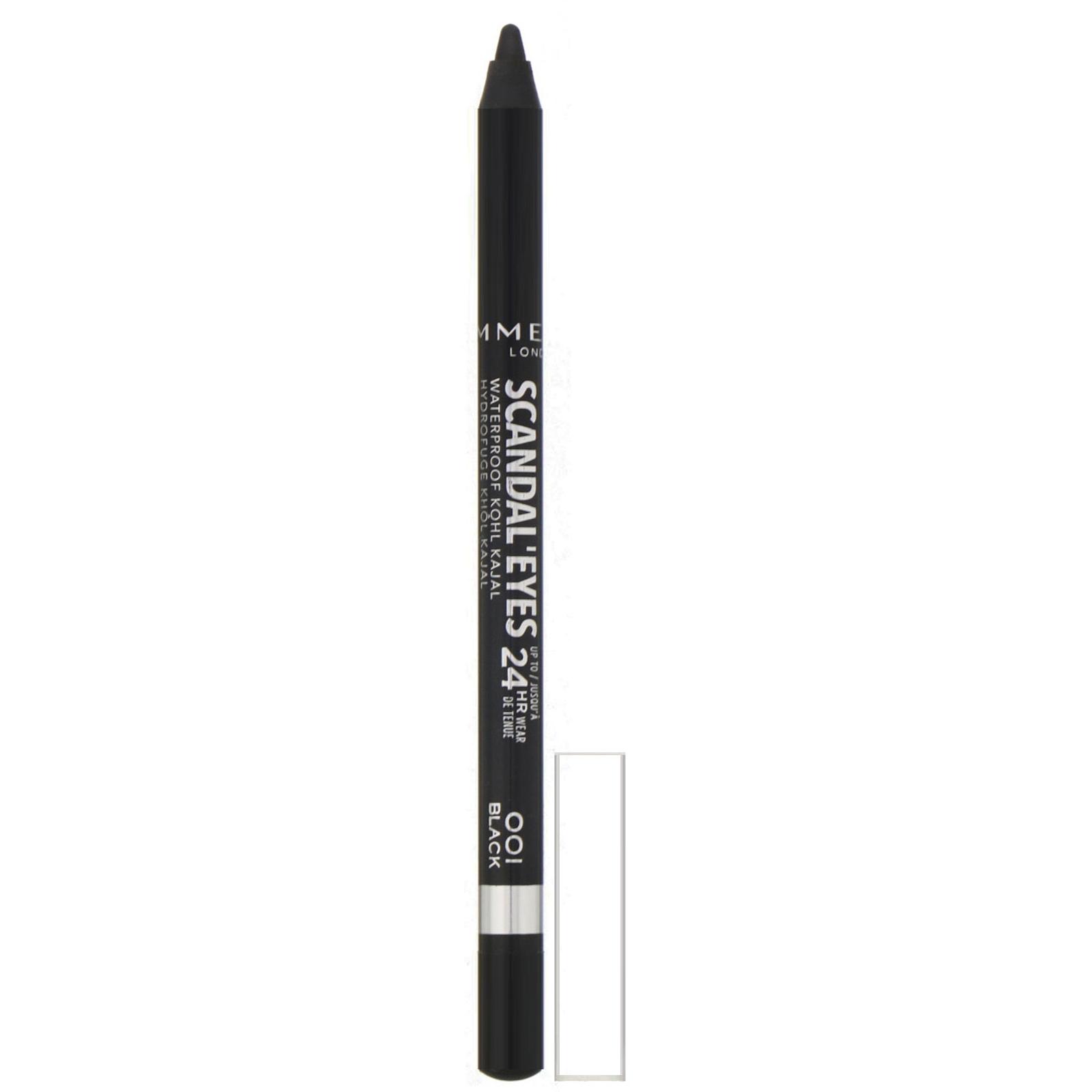 Rimmel London, Водостойкий карандаш для глаз Scandaleyes, стойкость 24 часа, оттенок 001 черный, 1,3 г