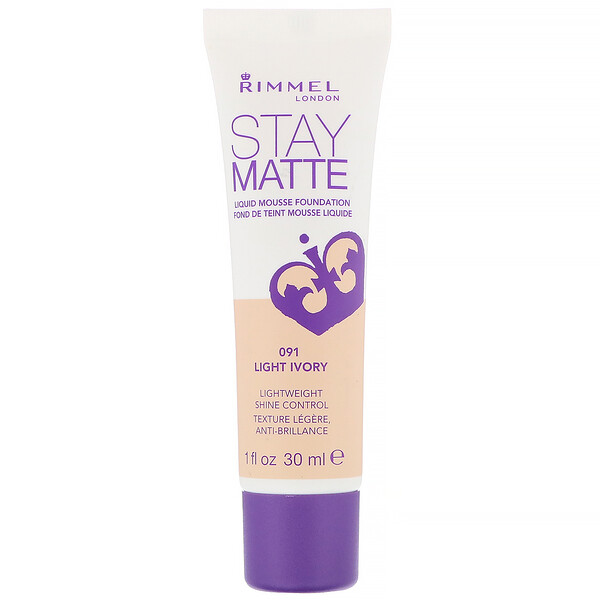 Rimmel London, Stay Matte Liquid Mousse Foundation, 091 Light Ivory, 1 fl oz (30 ml) (Discontinued Item)