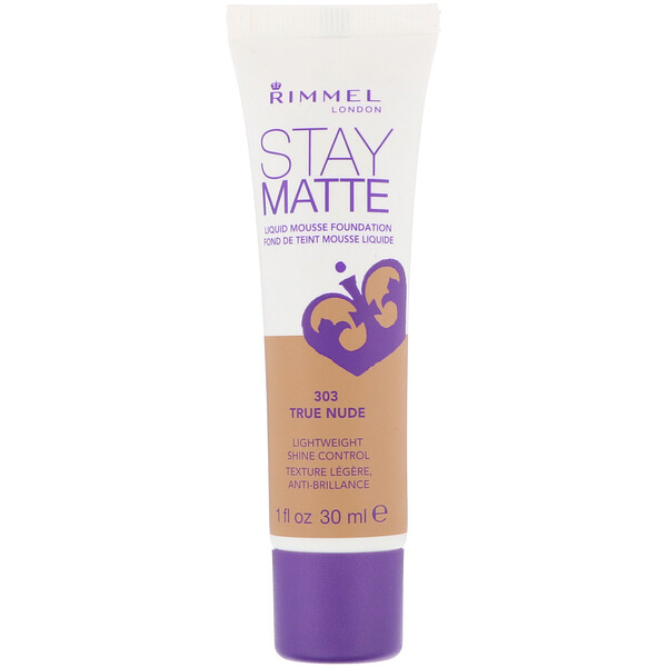 Rimmel London, Base en mousse líquida Stay Matte, 303 Piel verdadera, 30 ml (1 oz. líq.) (Discontinued Item)