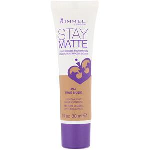 Rimmel London, Stay Matte Liquid Mousse Foundation, 303 True Nude, 1 fl oz (30 ml) отзывы