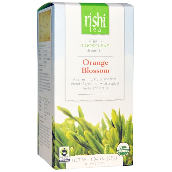 Rishi Tea, Organic Loose Leaf Green Tea, Orange Blossom, 1.94 oz (55 g) (Discontinued Item)