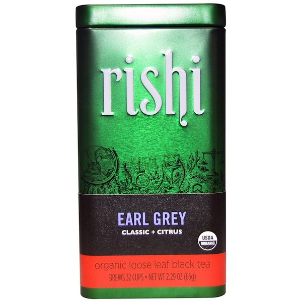 Rishi Tea, Organic Loose Leaf Black Tea, Earl Grey, Classic + Citrus, 2.29 oz (65 g)