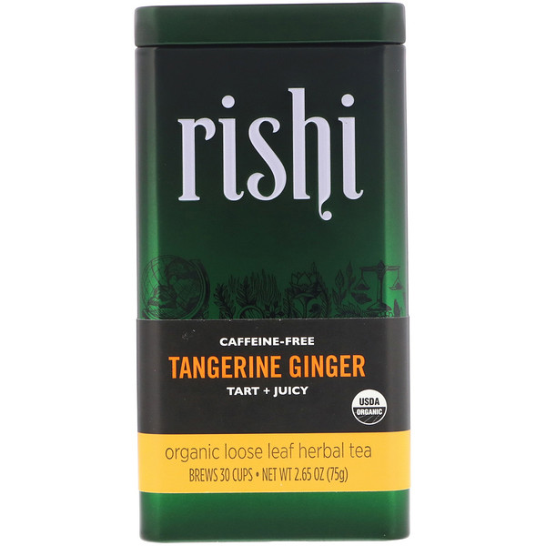 Rishi Tea, Organic Loose Leaf Herbal Tea, Tangerine Ginger, Caffeine-Free, 2.65 oz (75 g) (Discontinued Item)