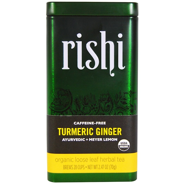 Turmeric Ginger, Organic Loose Leaf Herbal Tea, Ayurvedic + Meyer Lemon, 2.47 oz (70 g)