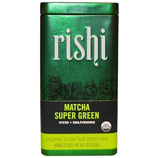 Rishi Tea, Organic Matcha Super Green, Organic Loose Leaf Green Tea, 1.76 oz (50 g)
