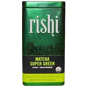 Риши Ти, Organic Loose Leaf Green Tea, Matcha Super Green, 1.76 oz (50 g) отзывы