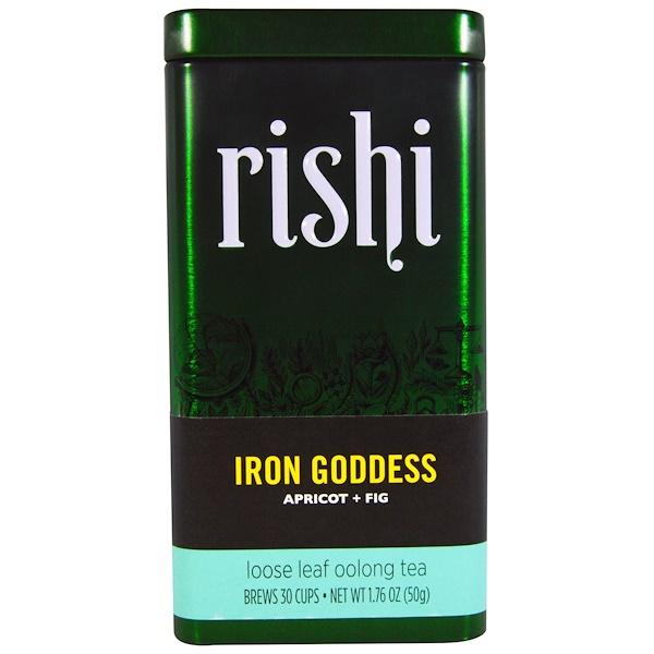 Rishi Tea, Iron Goddess, Loose Leaf Oolong Tea, Apricot + Fig, 1.76 oz (50 g) (Discontinued Item)