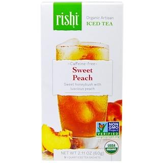 Rishi Tea, Organic Artisan Iced Tea, Caffeine-Free, Sweet Peach, 5 1-Quart Iced Tea Sachets, 2.11 oz (60 g)
